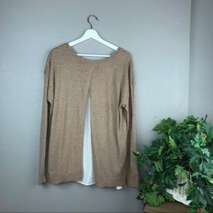 LUMIERE Tan Open Tulip Lined Back Sweater Top